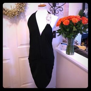 Super Sexy Black Caché Dress With Shoulder Brooch